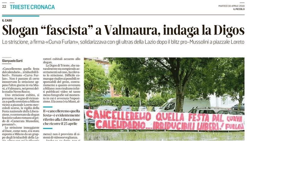 Anche a Trieste striscioni contro il 25 aprile...