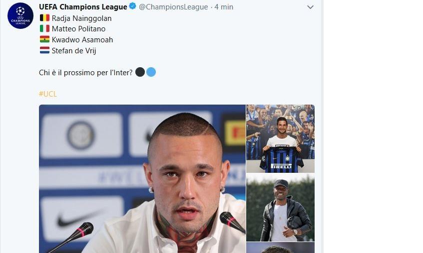 Inter: quella domanda dell'account ufficiale della Champions
