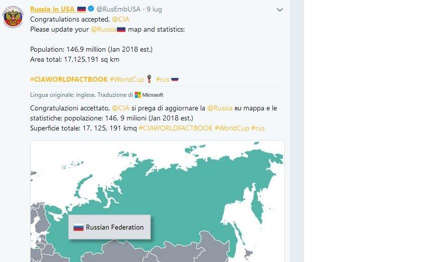 Mondiali: la Russia ricorda alla CIA di aggiornare i dati