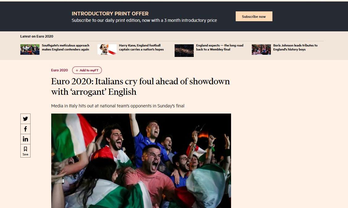 Ci siamo, l'evento è arrivato: l'affondo del Financial Times contro alcuni media italiani